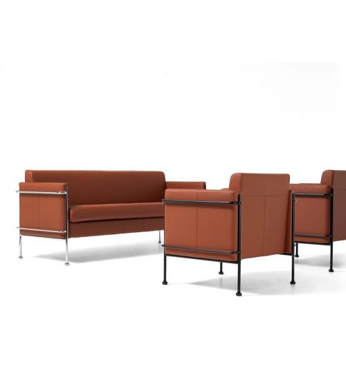 Sillón y sofá Jazz con estructura en negro y cromo y asiento en Piel Fiesta 304