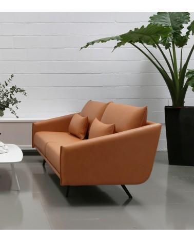 Sofa Costura 3 plazas Acabado Piel Camel FEB001 . Stua