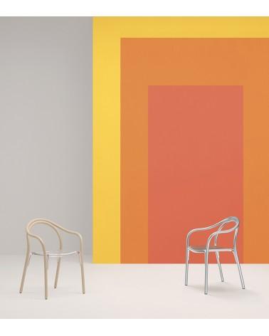 Silla Soul estructura freno aclarado y asiento policarbonato blanco y silla Soul exterior cromada. Pedrali