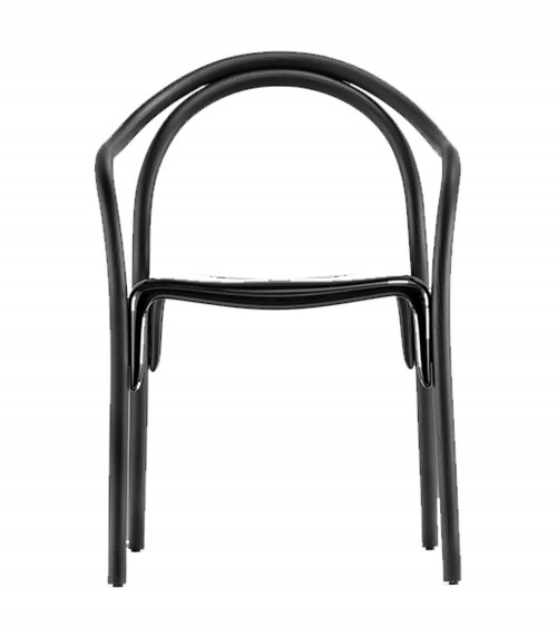 Silla Soul Estructura fresno lacado negro y asiento policarbonato negro. Pedrali