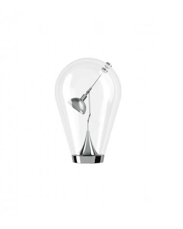 Lámpara de mesa Blow. Base en metal cromado y cuerpo en vidrio soplado